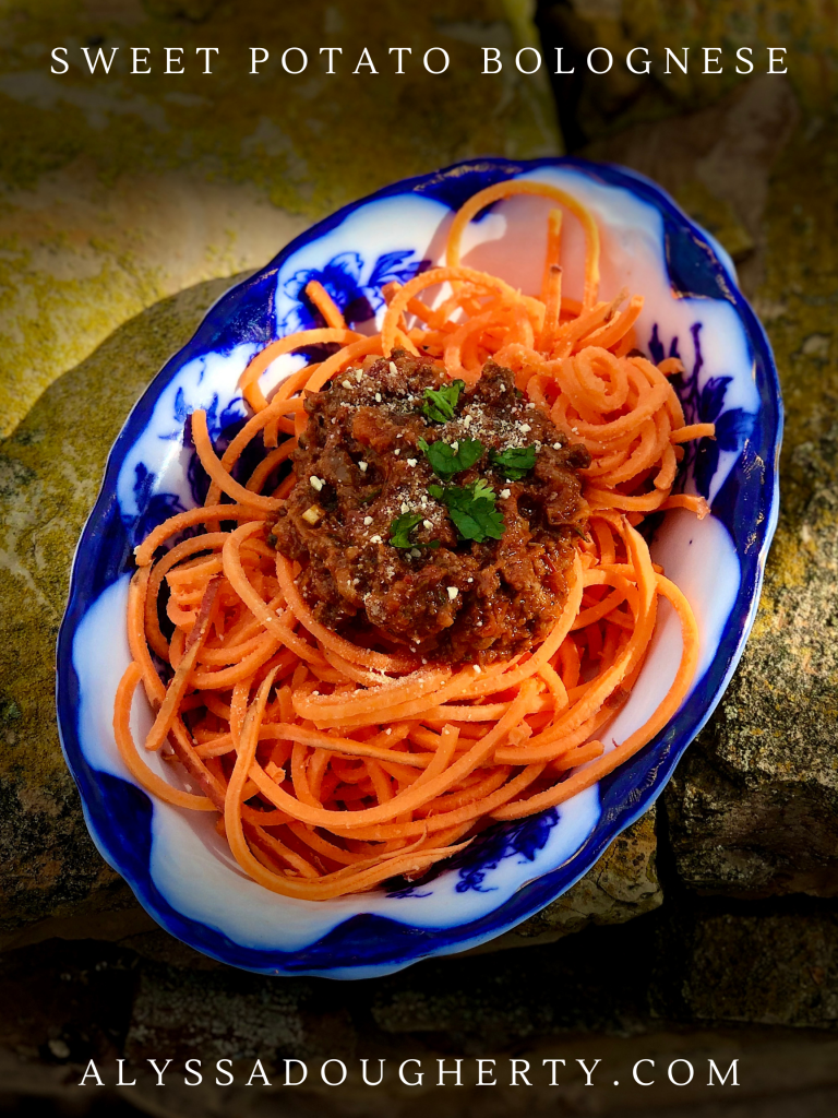 Sweet potato noodle bolognese
